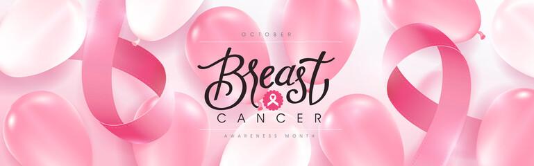 Breast cancer october awareness month pink balloons banner background,vector illustration