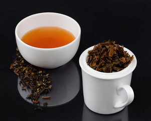 Gourmet tea tasting service with brewer and tea leaves