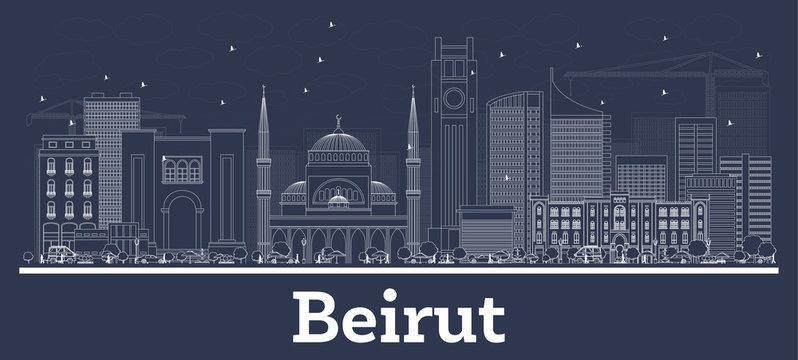 Outline Beirut Lebanon City Skyline with White Buildings.