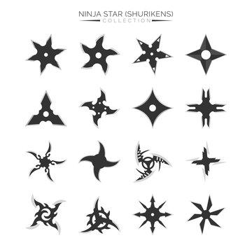 Set of Ninja Star Silhouette, Shuriken Vector Illustration Design Collection
