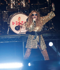 Mexican singer Paulina Rubio performs during her Deseo tour at The Wiltern in Los Angeles