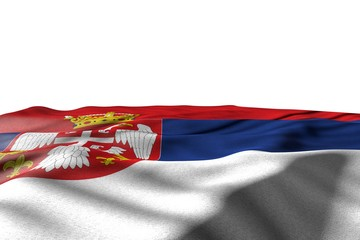 wonderful day of flag 3d illustration. - mockup picture of Serbia flag lie with perspective view isolated on white with space for your content