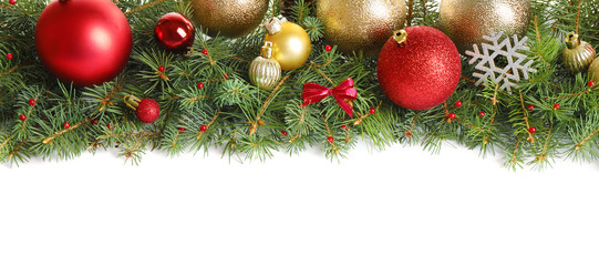Fir tree branches with Christmas decoration on white background, flat lay