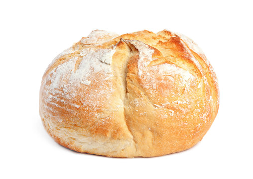 Loaf of fresh bread on white background