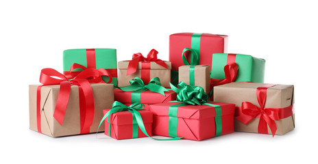 Different Christmas gift boxes on white background Wall mural