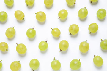 Fresh ripe juicy grapes on white background, top view