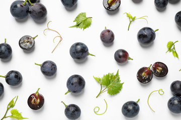 Fototapete - Fresh ripe juicy grapes on white background, top view