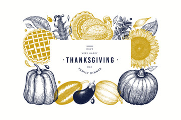 Happy Thanksgiving Day banner. Vector hand drawn illustrations. Greeting Thanksgiving design template in retro style. Autumn background.