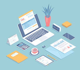 Online tax form filling on laptop screen. Payment, bookkeeping, accounting. Invoices, calendar, calculator, folders, phone, documents with charts on the table. Isometric 3d vector illustration.