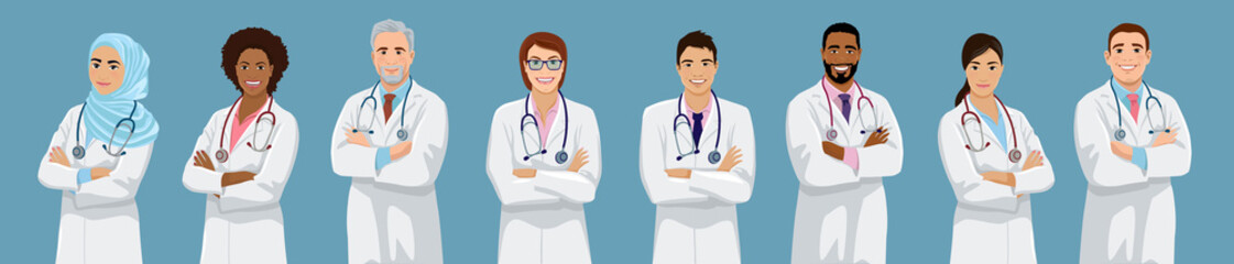 Big set of doctors different ethnicity and gender. African, Asian, European, Muslim male and female medical team people. Isolated vector illustration.