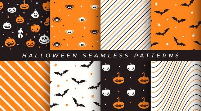 Vector set of Halloween seamless patterns