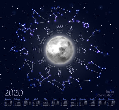 Astrology calendar for 2020 year with zodiacal circle. Lighted moon, star signs with dates of birth and stellar constellations. Zodiac horoscope on deep blue background vector illustration.