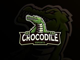Crocodile mascot logo design. Modern illustration concept style for Badge, Emblem and Mascot design. Crocodile head illustration for eSports team mascot. Vector logo template