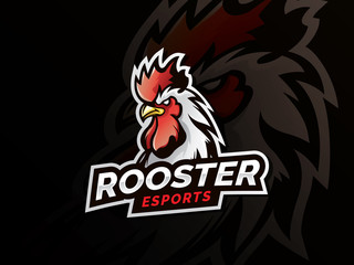 Rooster mascot sport logo design. Chicken rooster head mascot. Chicken head emblem design for eSports team. Vector illustration