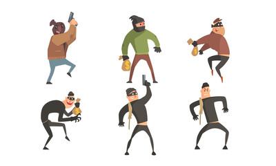 Criminals Characters Set, Masked Robbers Holding Guns and Money Sacks Vector Illustration