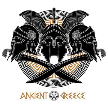 Ancient Hellenic helmet, two crossed ancient Greek swords and greek ornament meander