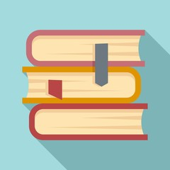 Law book stack icon. Flat illustration of law book stack vector icon for web design