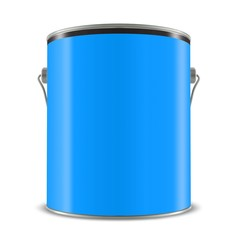 3d blue tub, paint bucket container with metal handle, 3d illustration