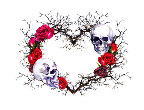 Heart with human skull. Branches, red rose flowers. Watercolor for Halloween