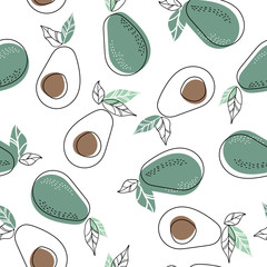 Background with avocado fruit slices on a white background. Seamless pattern with avocado.