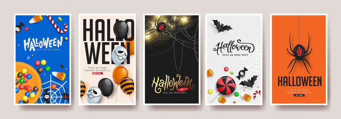 Fototapete - Happy Halloween banners party invitation background.Vector illustration .