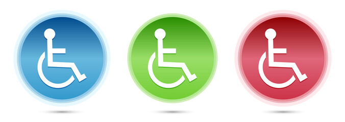 Wheelchair handicap icon glass round buttons set illustration