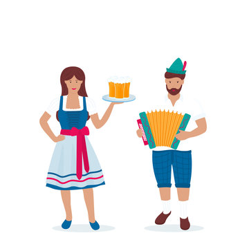 Man and woman in traditional German costumes celebrate Oktoberfest. Lederhosen and Dirndl. A guy in a green hat with a feather plays the accordion.