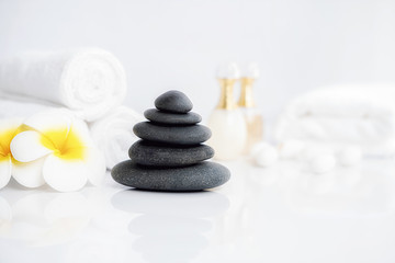 Spa treatment concept. Spa background with spa accessories on white background.