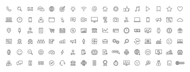Big set of 100 Business and Finance web icons in line style. Money, bank, contact, office, payment, strategy, accounting, infographic. Icon collection. Vector illustration. Fotomurales