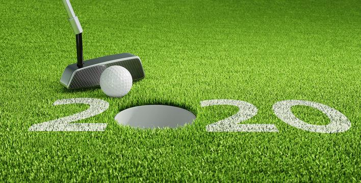 Golfball beim Putten 2020