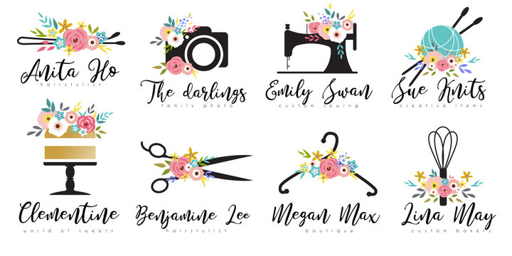 Premade floral logo with sewing machine, photo camera, scissors, cake, crochet yarn. Branding set for handmade clothes, instagram boutique, custom bakery, family photographers, hairstylist