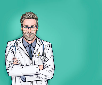 Smiling doctor with stethoscope posing with arms crossed. Medical professional confident and happy with a big natural smile laughing isolated over blue background