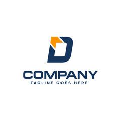 Letter D and arrow logo design vector. Abstract logo design.
