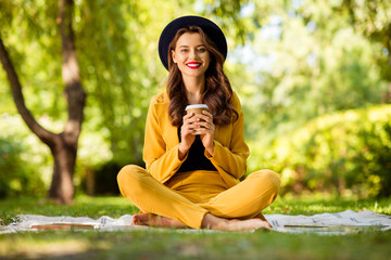 Fototapete - Portrait of her she nice-looking attractive lovely charming gorgeous pretty cheerful cheery wavy-haired girl sitting in lotus position drinking latte cappuccino to-go on fresh air outdoors