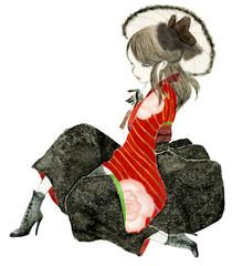 花柄の赤い袴を着た、少女のイラスト。大正ロマン、ハイカラ。