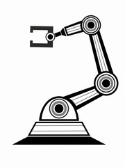 isolated illustration of a robotic arm, vector drawing