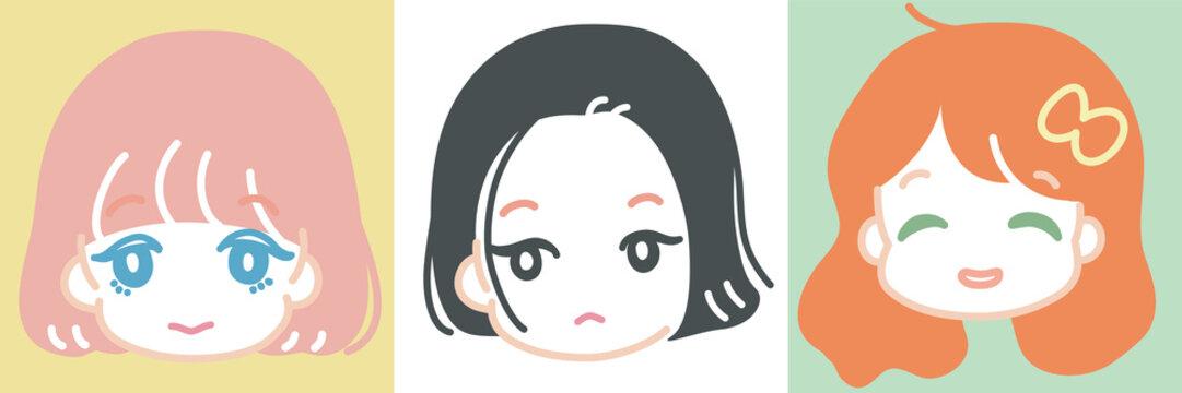 ゆるくて可愛い、女の子のキャラクターイラスト。アイコン風。