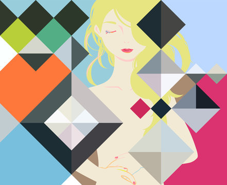 幾何学模様と、美人な女性の、カラフルでおしゃれなベクターイラストレーション