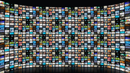 Large interactive TV with many smart channels.