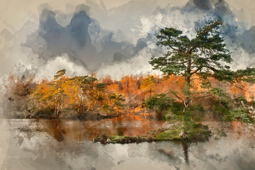 Digital watercolor painting of Beautiful landscape image of Tarn Hows in Lake District