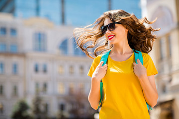 Fototapete - Portrait of her she nice-looking attractive lovely glad pretty cheerful cheery girl wearing colorful yellow bright t-shirt traveling abroad around the world outdoors