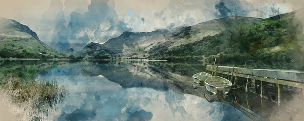 Spoed Foto op Canvas Beige Digital watercolor painting of Panorama landscape rowing boats on lake with jetty against mountain background
