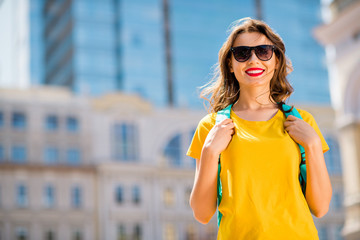 Aufkleber - Portrait of her she nice attractive lovely charming cheerful cheery glad dreamy girl wearing colorful yellow bright t-shirt traveling around the world globe outdoors