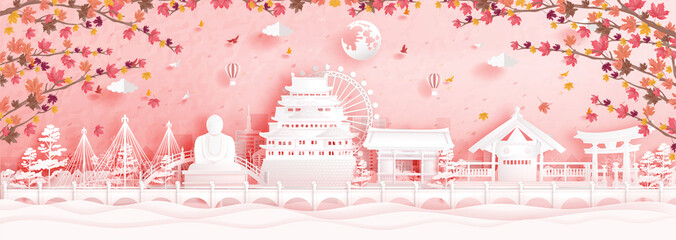 Fototapete - Autumn in Nagoya, Japan with falling maple leaves and world famous landmarks in paper cut style vector illustration