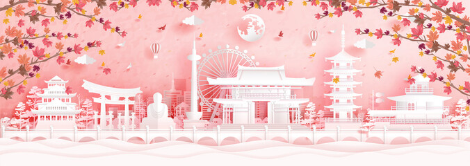 Fototapete - Autumn in Kyoto, Japan with falling maple leaves and world famous landmarks in paper cut style vector illustration