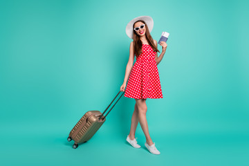 Fototapete - Full length body size view of nice attractive lovely cheerful cheery glad dreamy straight-haired girl departure enjoying rest relax isolated over green blue turquoise bright vivid shine background