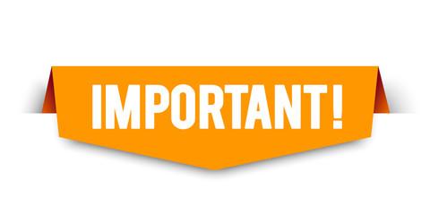 Modern orange vector illustration banner important. Web element. Wall mural