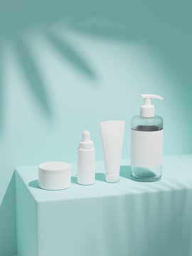 3d rendering mock up cosmetic bundle for skin care, put on the wall under the sun. White plastic bottles and tubes white caps. Branding identity template