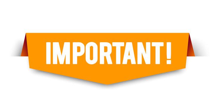 Modern orange vector illustration banner important. Web element.