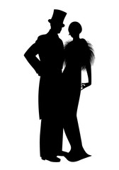 Fototapete - Elegant silhouettes of couple wearing retro style party clothes. Man in top hat and lady with long dress and fur stole, isolated on white background.